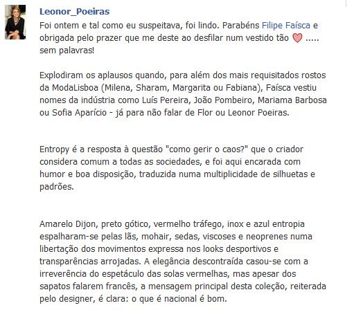 Reacção da Leonor Poeiras sobre o desfile de ontem