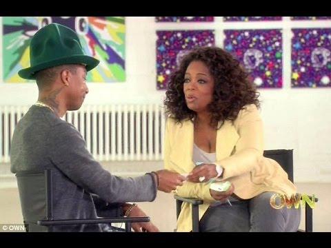 Photo of Pharrell Williams (produtor de Happy) chora junto da Oprah Winfrey