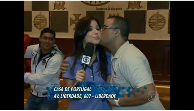 Photo of Repórter da Globo volta a ser beijada em directo agora por um Português