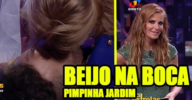 Photo of Pimpinha Jardim beija na boca o seu par no «Dança com as Estrelas»