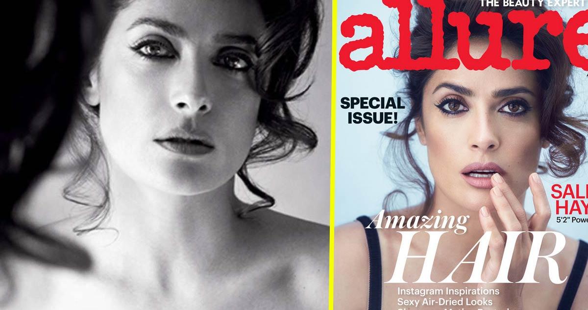 Photo of Salma Hayek posa em topless para a revista Allure aos 48 anos