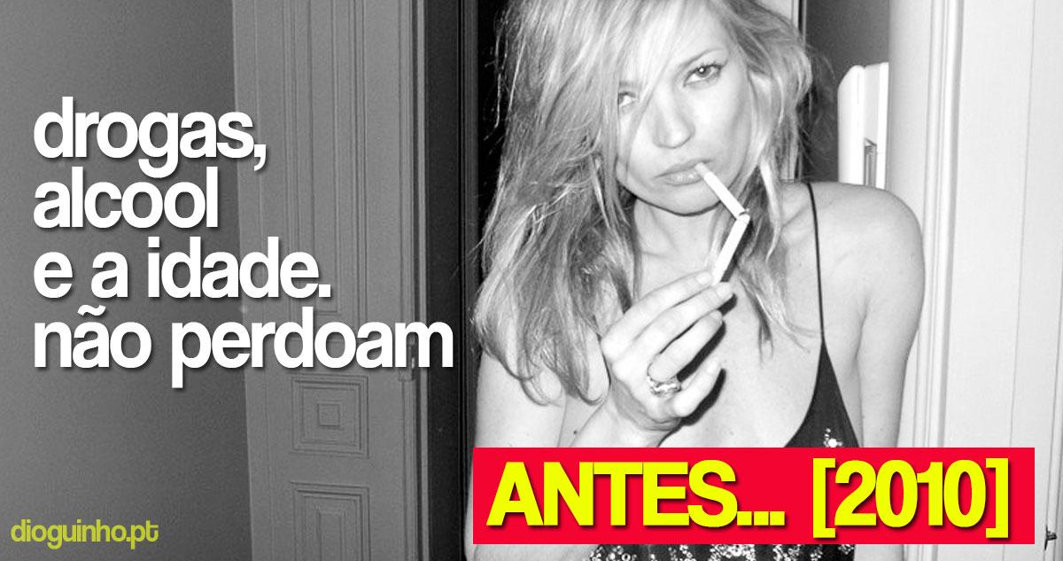 Photo of Kate Moss: drogas, álcool e idade não perdoam