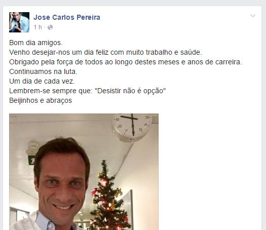José Carlos Pereira apanhado com 2,3 g/l de álcool