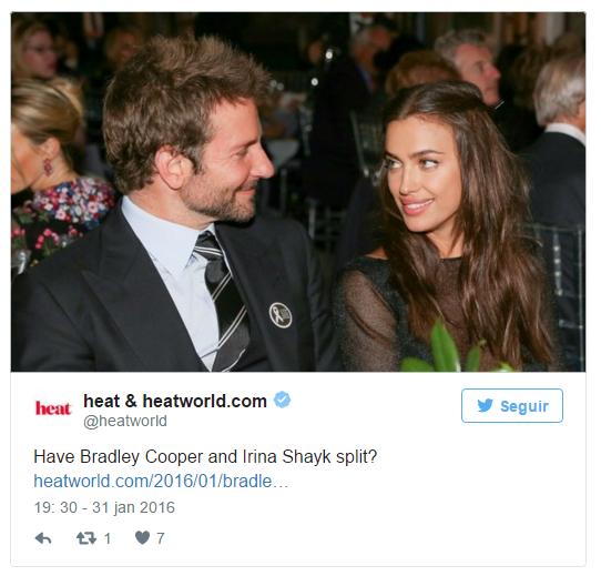 """Bradley Cooper """"acaba"""" com Irina"""