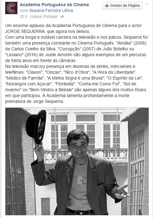 Morreu o ator Jorge Sequerra
