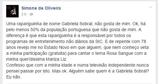 Simone de Oliveira farpas a Gabriela Sobral