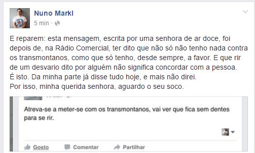 Nuno Markl é criticado por transmontanos