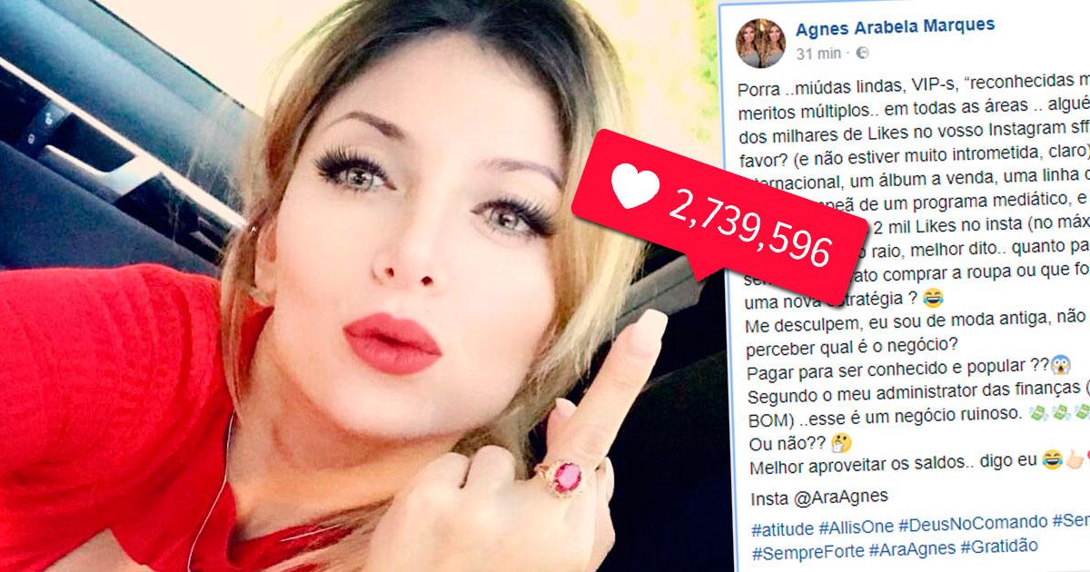 """Photo of Agnes Arabela queixa-se que não tem """"gostos"""" nos seus posts"""