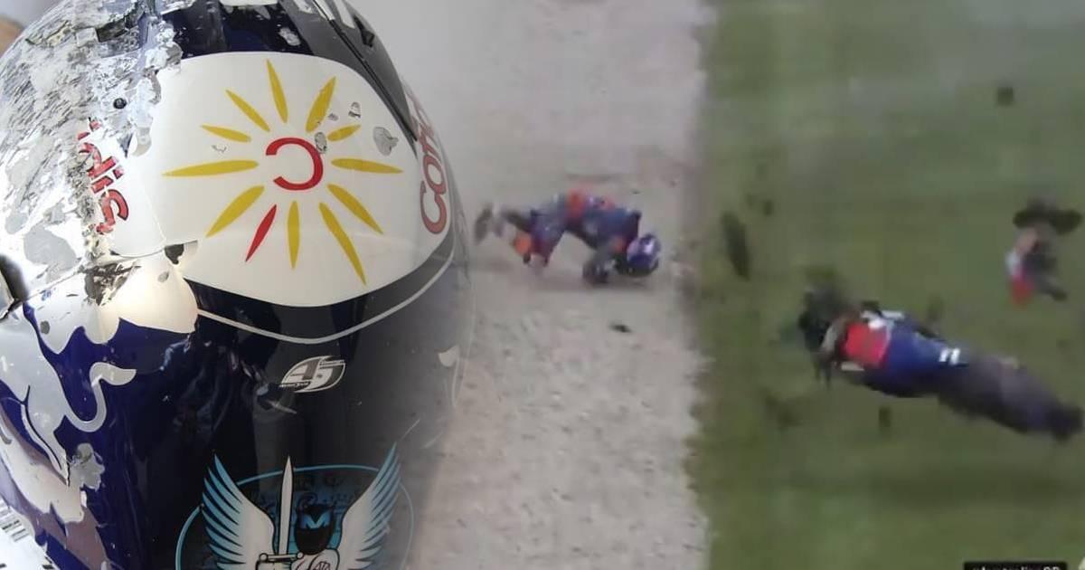 Photo of Como ficou o capacete de Miguel Oliveira após queda a 300 km/h