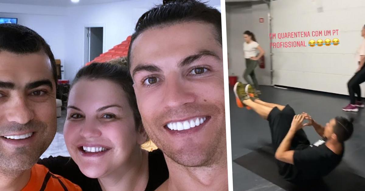 """Photo of Cristiano Ronaldo deu um treino à família na garagem """"Quarentena com um PT profissional"""""""