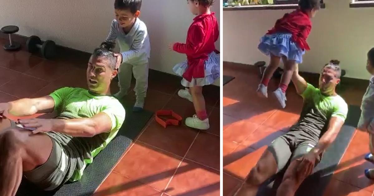 """Photo of Cristiano Ronaldo com dificuldades a treinar em casa: """"Deixem o pai trabalhar"""""""
