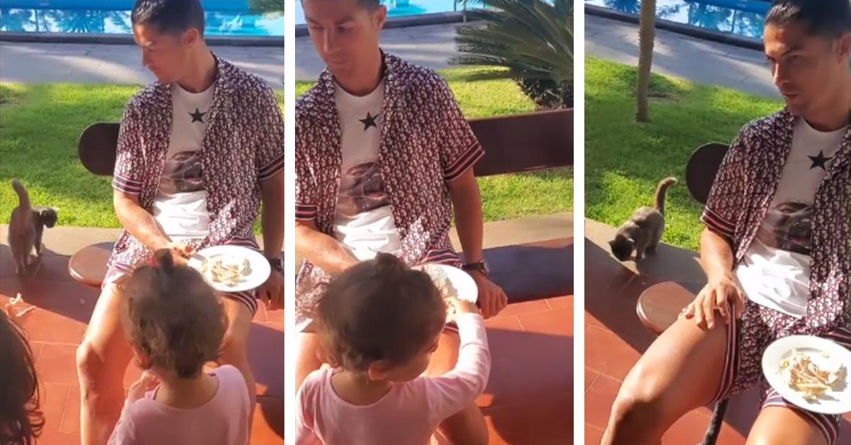 Photo of Georgina Rodriguez mostra Cristiano Ronaldo alimentar o gato